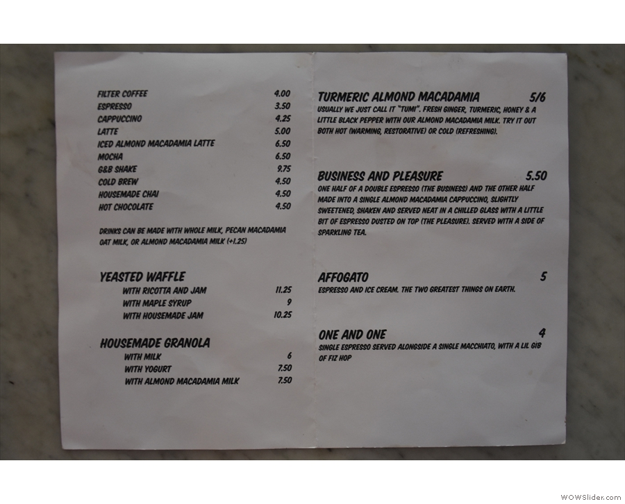 ... and inside a slightly expanded drinks/food menu.