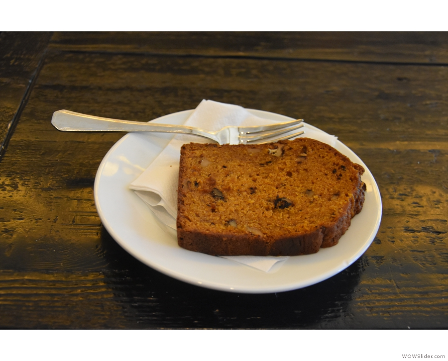 I paired it with a slice of the orange, walnut and banana bread, which was excellent.