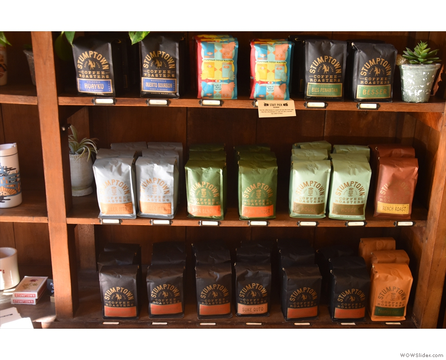 There's some merchandising and coffee-brewing kit, but it's mostly bags of coffee.