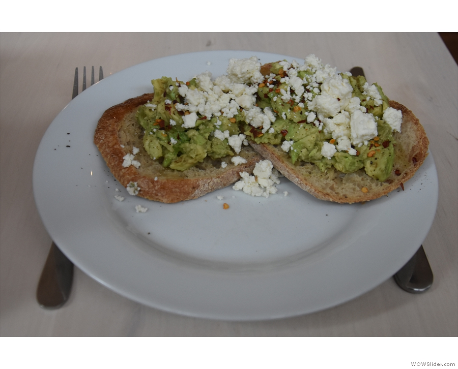 ... and to try the avocado and feta toast from the new (to me) breakfast menu.