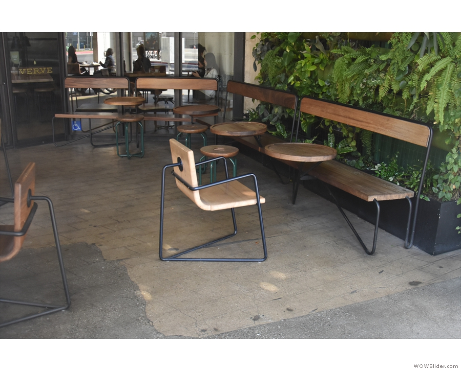 The benches (which run down both outside walls) are neat, with built-in coffee tables.