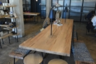 The rest of the seating is on the right-hand side, starting with this communal table...