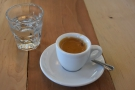 The espresso, which was excellent, came with a class of sparkling water....