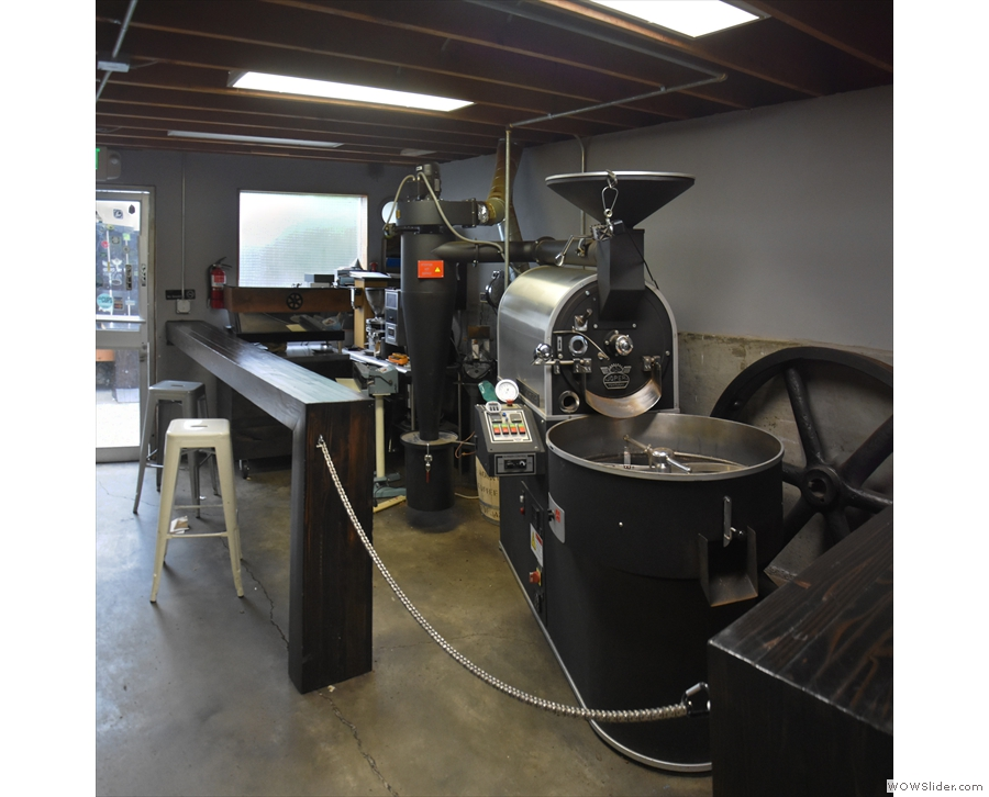 ... beyond which is the roaster, where all the coffee is produced.