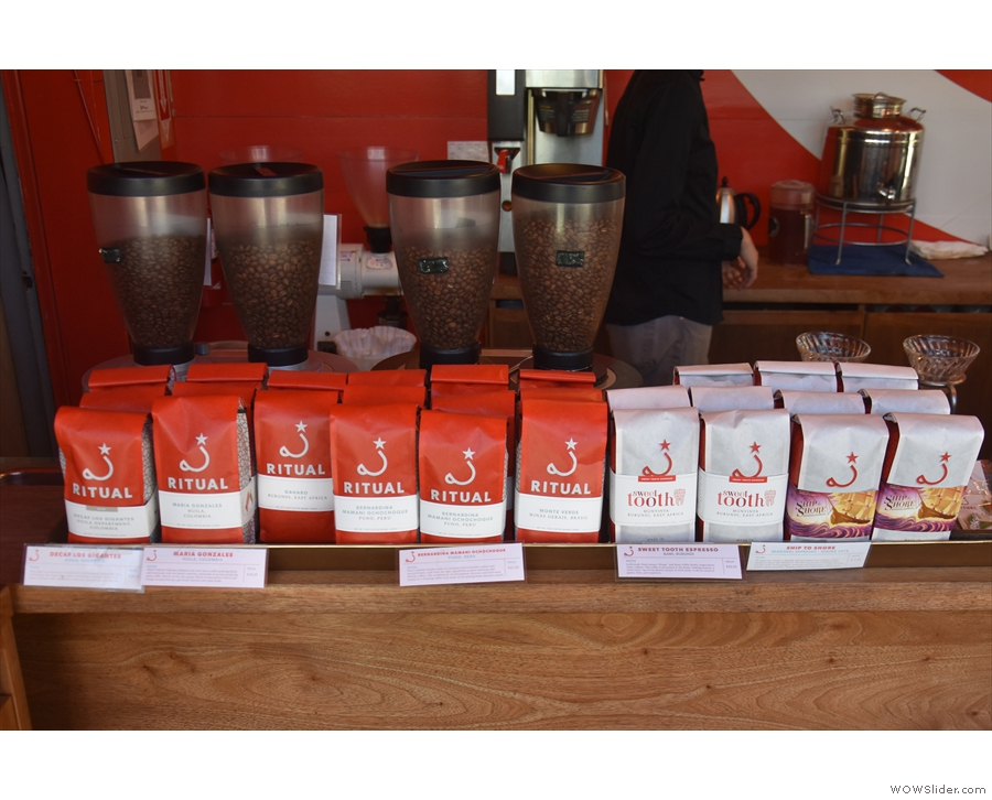 ... with retail bags of coffee dead ahead, in front of the grinders for the filter coffee.