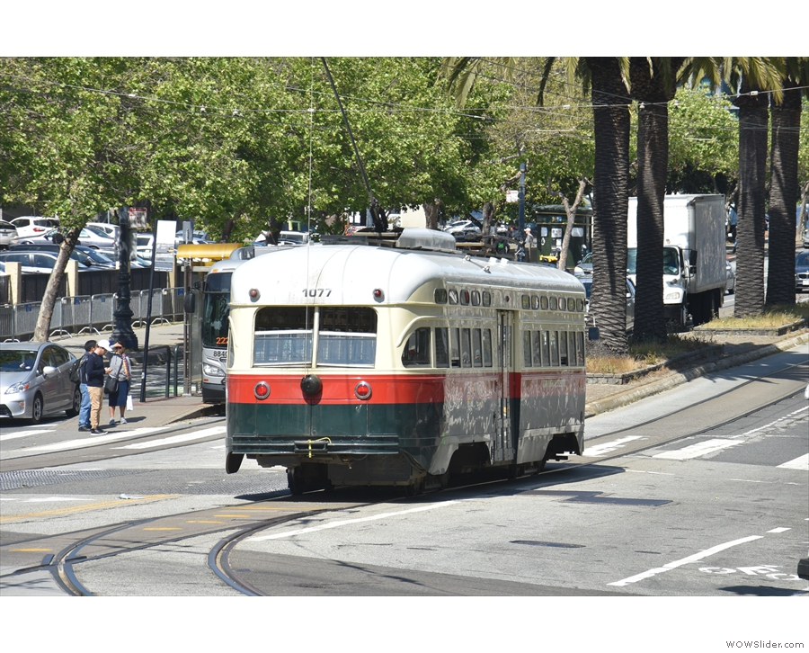 ... streetcars, seen here turning onto Market Street.