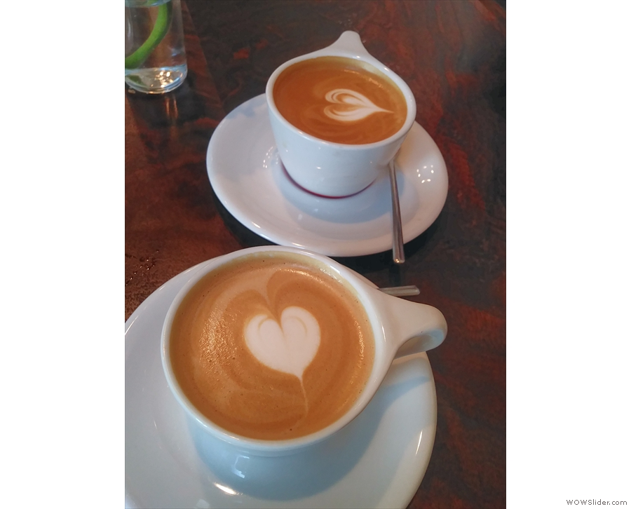 A pair of cappuccinos on my first visit with Amanda.