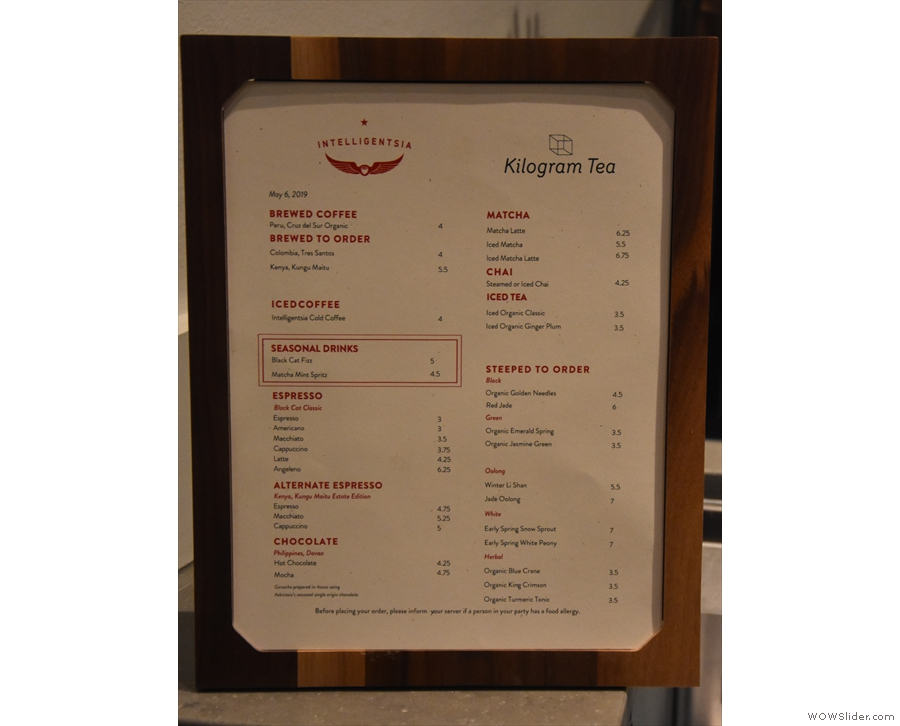 The menu, with its daily options on espresso, batch brew and pour-over.