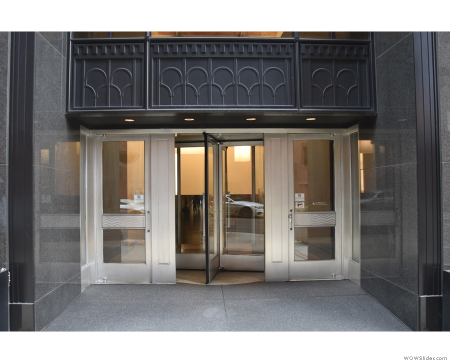 Entry is by this set of revolving doors (there are also entrances on Canal & Washington).