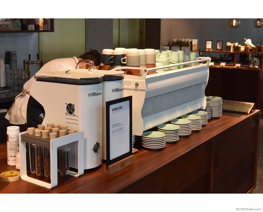 ... which is also where you'll find the espresso machine and its two matching grinders.