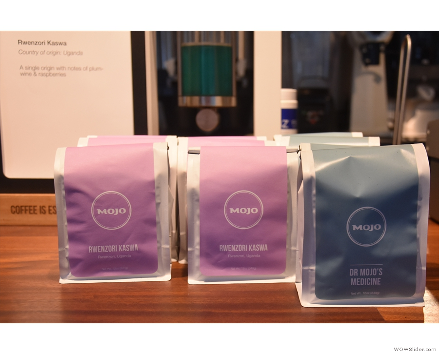 Retail bags are also available on the counter.