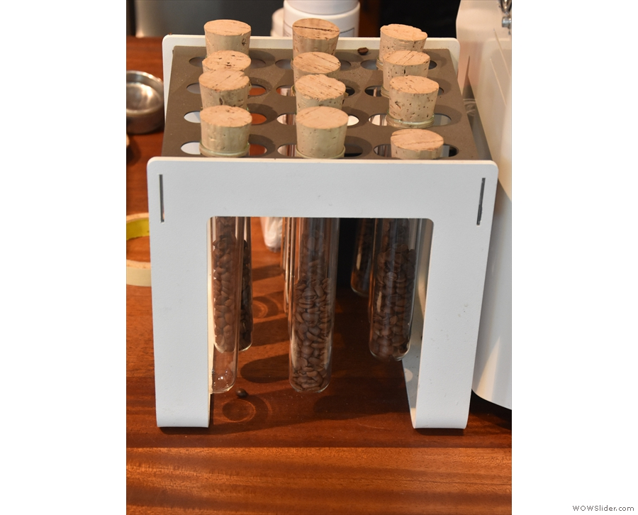 ... while the test tubes next to the grinders have pre-weighed doses for the pour-over.