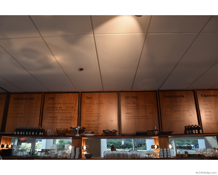 The drinks menus, meanwhile, are high up on the wall behind the counter...