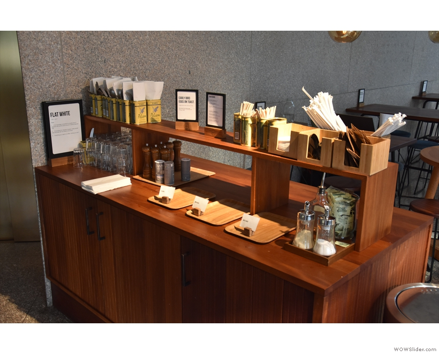 It starts with this takeaway station, separating the seating from the counter.