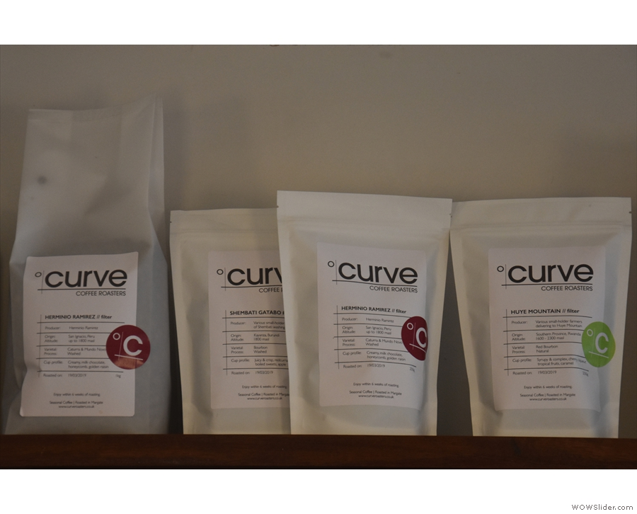Above the menu are the filter choices from guest roaster, Curve.