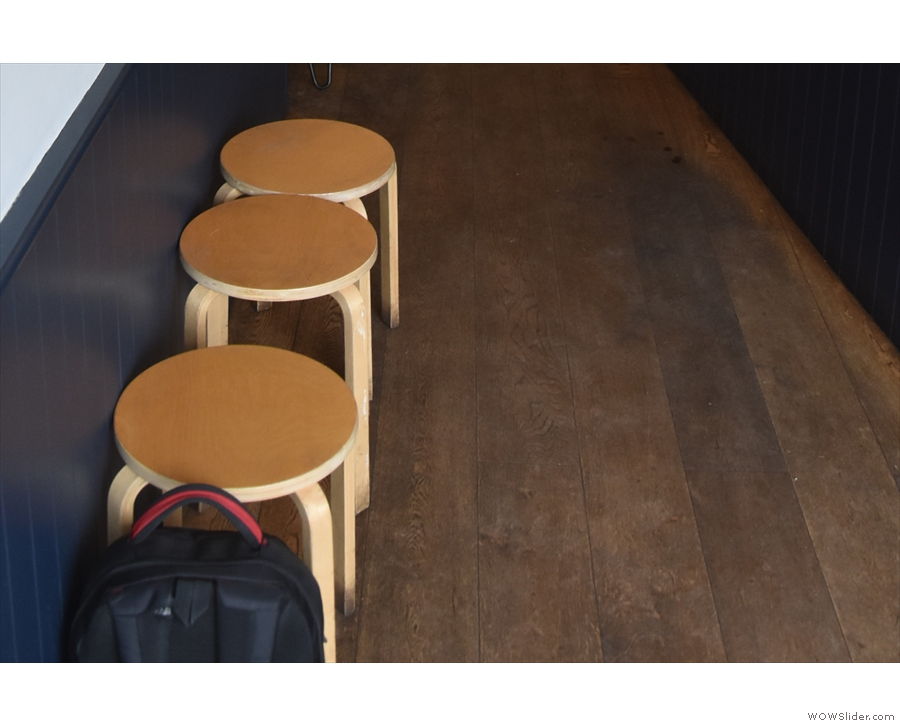 ... but there are three stools against the wall opposite the start of the counter...