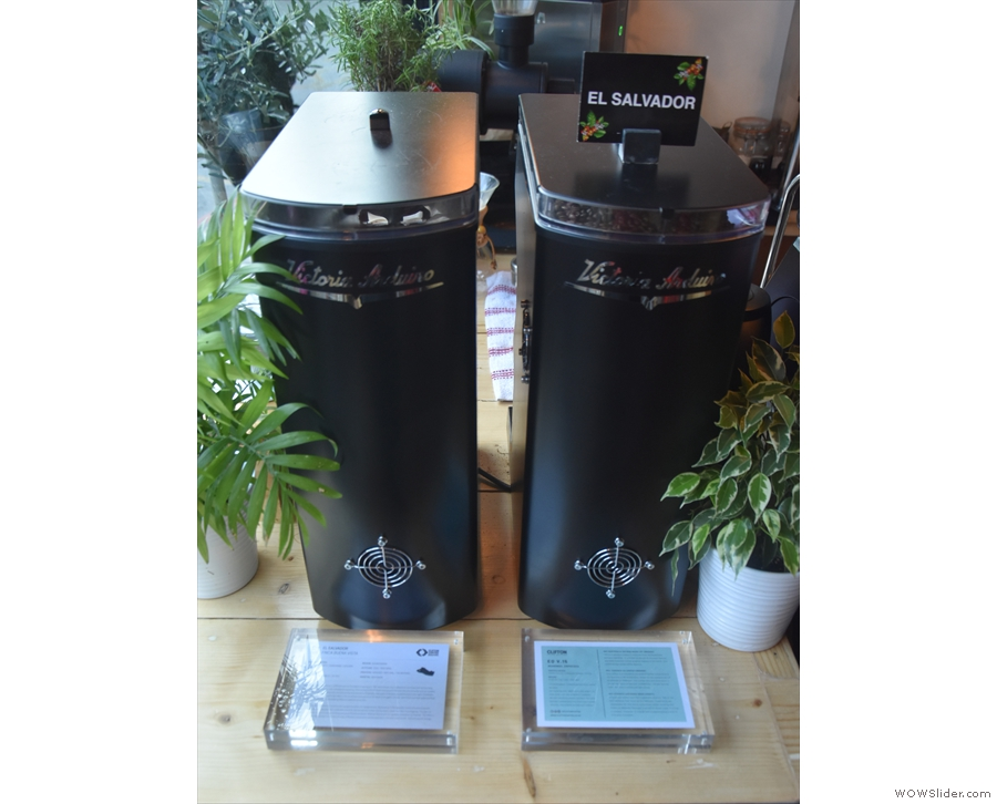There are two Mythos One grinders, one with the house espresso, the El Salvador...