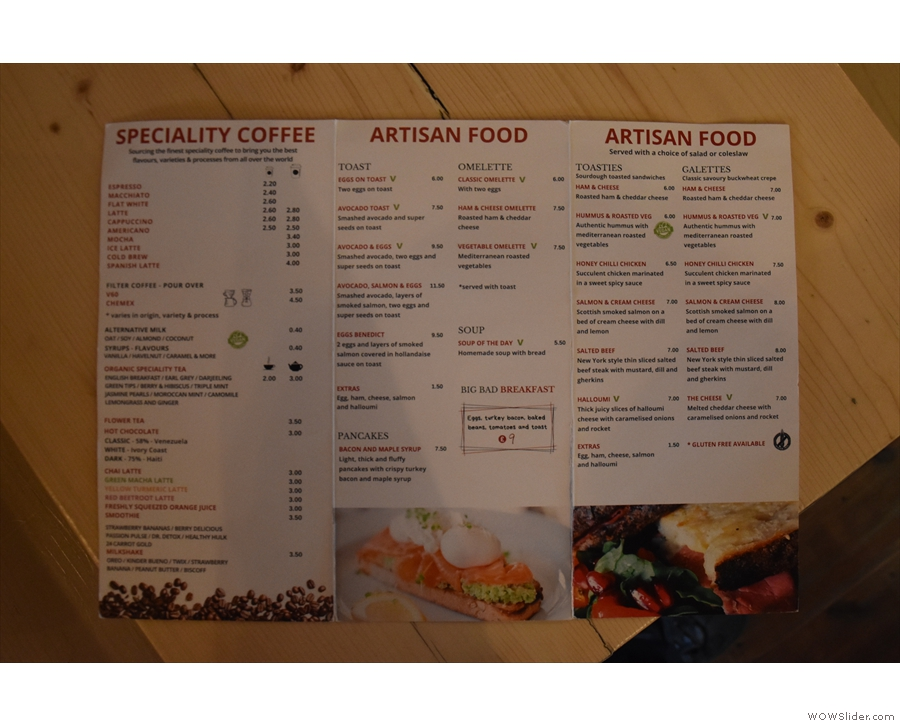 There's also a full breakfast/lunch menu if you want something more substantial.