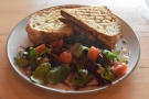 I rounded things off with this awesome toasted sandwich and equally awesome salad.