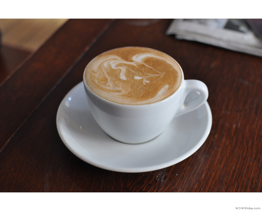 I had this very fine latte, more like a flat white than anything.