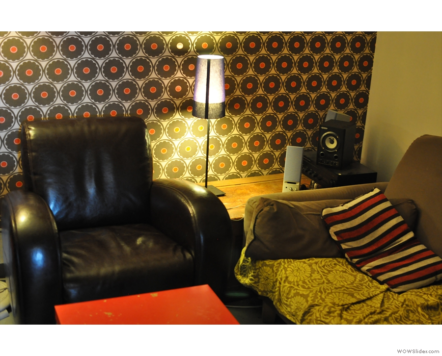 The other sofa: the TV is on the wall behind it.