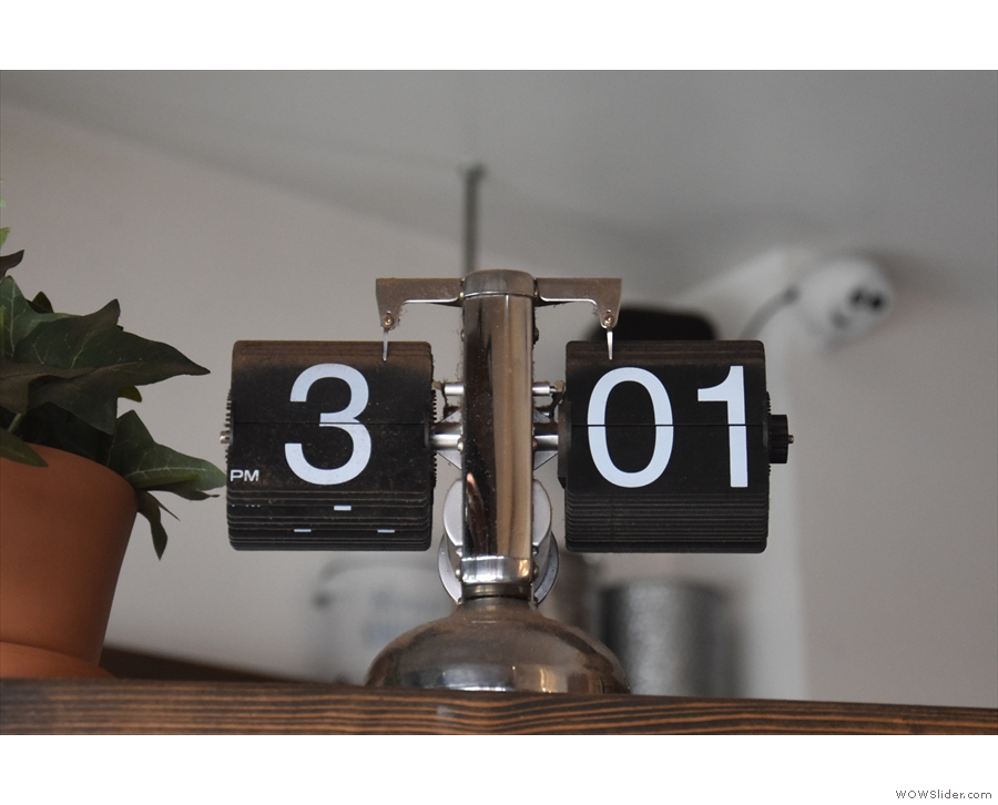 ... and by the old school digital clock above the counter.