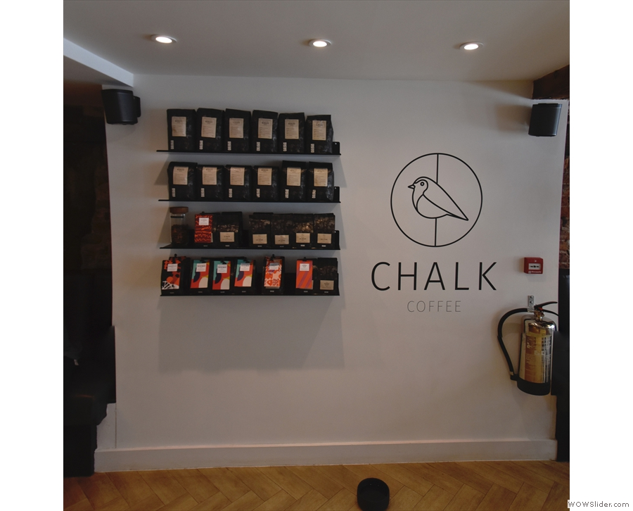 ... is a set of retail shelves, plus the Chalk Coffee logo.