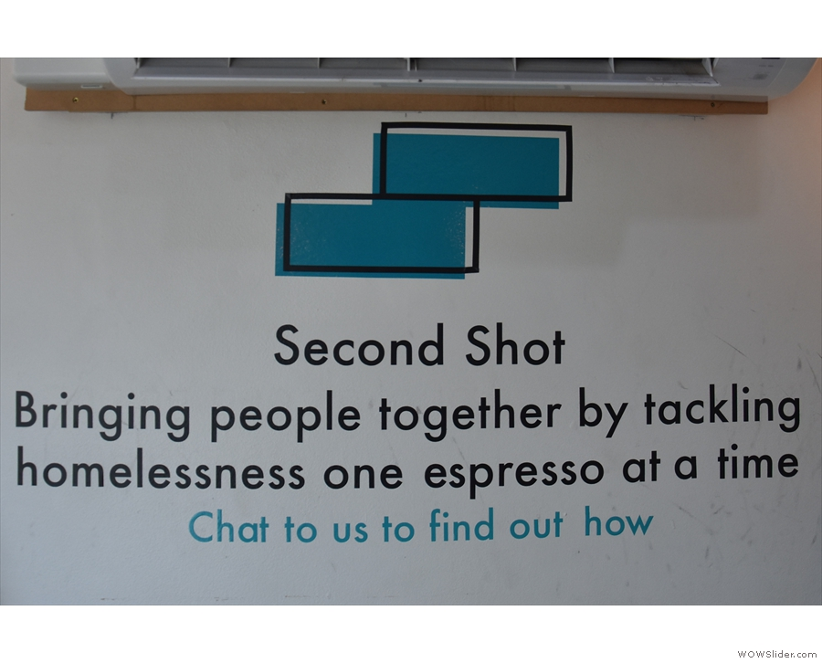 ... where you'll find Second Shot's mission statement on the wall over the bench.