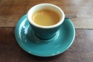I decided to keep it simple with an espresso, served in a gorgeous, handleless blue cup...