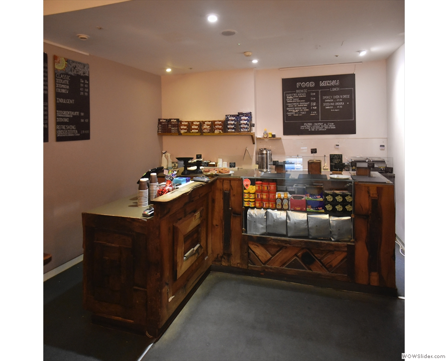 The business end of the counter, where you'll find the food (back) and till (left).