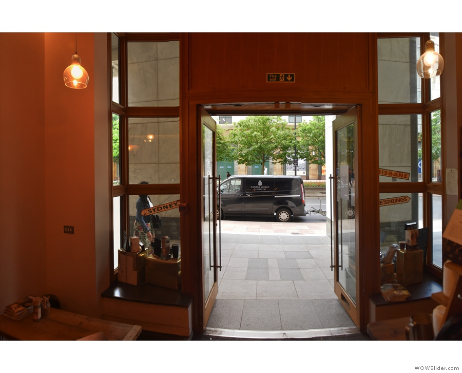 A view of the doors from the inside.