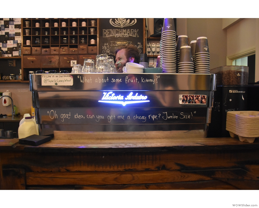 One of the two three-group Black Eagle espresso machines.