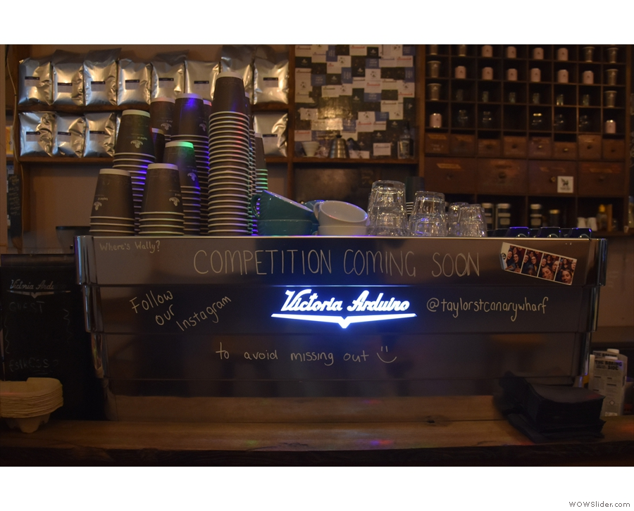In the morning, both are in operation, with up to six baristas working them.