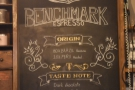 Details of the house espresso blend, Benchmark, are behind the counter...