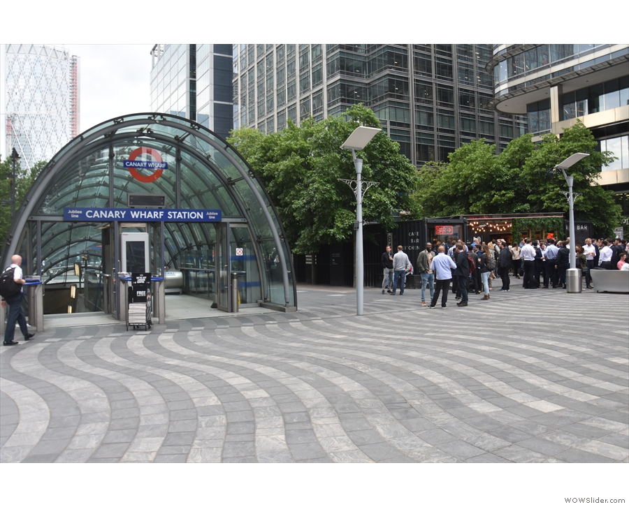 Montgomery Square, home to the eastern entrance to Canary Wharf tube station and off...