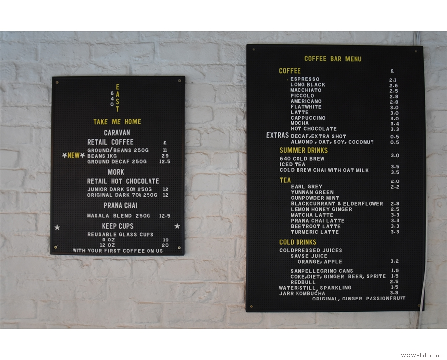 ... although the coffee menu and service is the same on both sides.