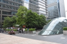 ... of the tube station entrance. Check out the trees, which provide shade and screening.