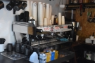 The heart of the operation is the three-group La Marzocco Linea...