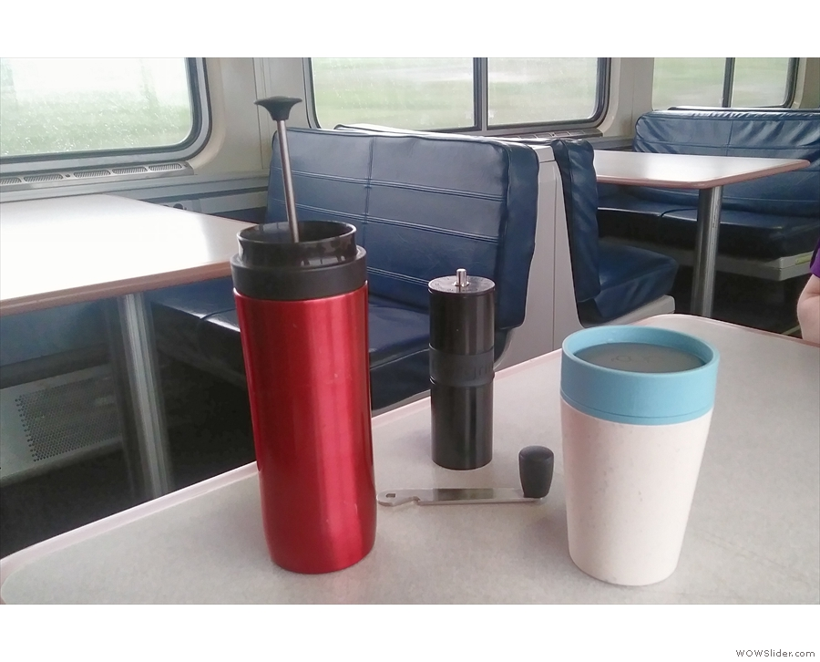 Coffee-making mostly took place down in the cafe car, where my RCup proved useful ...