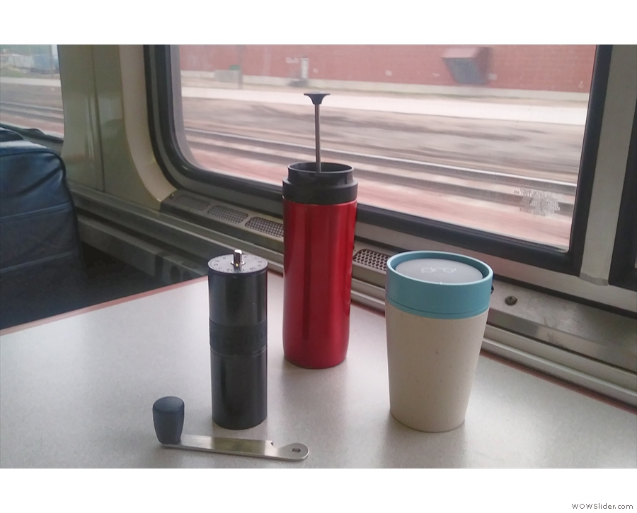 ... for carrying hot water! Here it is, looking out of the window with my Travel Press.
