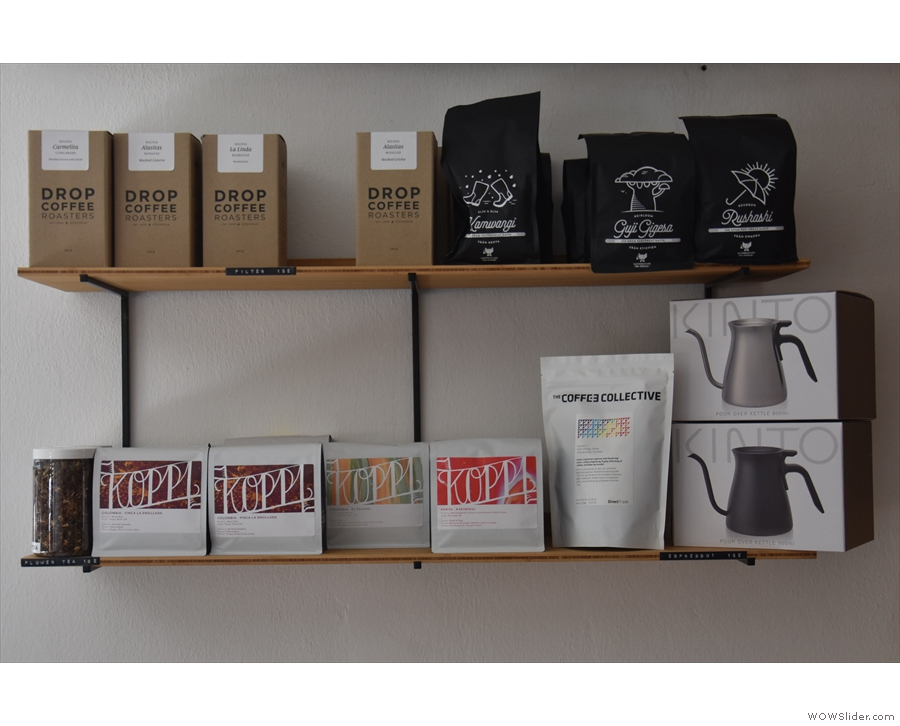 Turning to coffee, here are some of the roasters on offer from the retail shelf by the door.