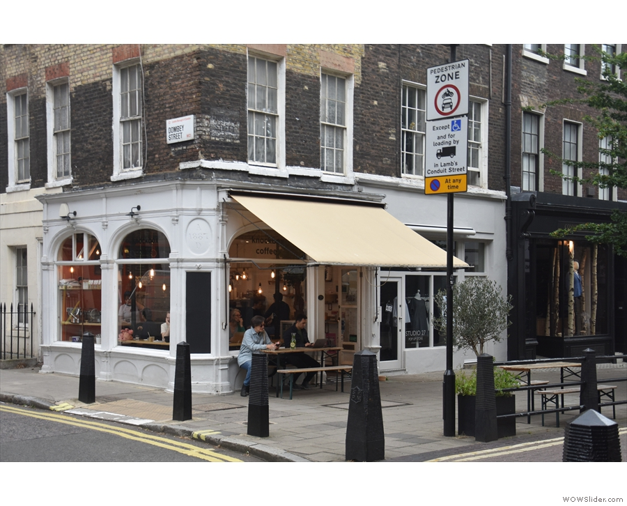 Knockbox Coffee, on Lamb's Conduit Street in London, on the corner with Dombey Street.