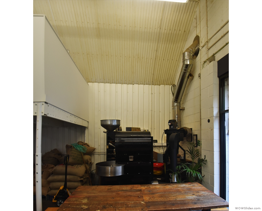 ... while tucked away immediately to the right of the door is the roaster.