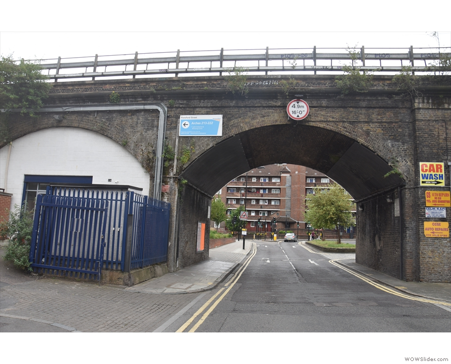 A railway bridge crossing Ponsford Street in Homerton is not the most promising start...