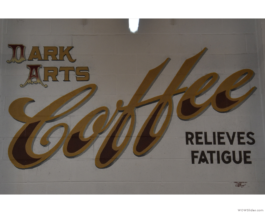 'Dark Arts Coffee Relieves Fatigue'. Indeed it does.