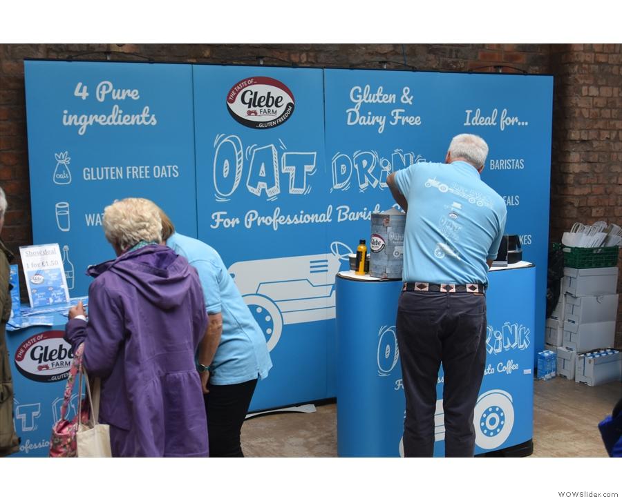 ... opposite them, Glebe Farm Oat Drink, one of several dairy alternatives. At the back...