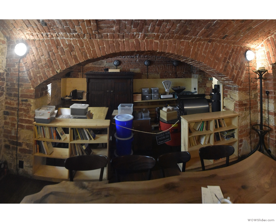 ... and, through a wide vaulted opening, you can look down on the old roastery.