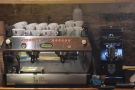 There's a two-group La Marzocco GB5 and its Mythos 1 grinder...