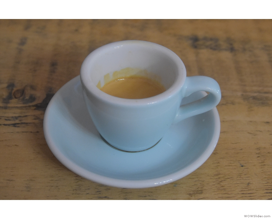 I decided to keep it simple with an espresso, served in a classic white cup...