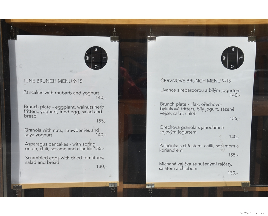 However, what drew me in was the weekly brunch menu, seen here in the window.